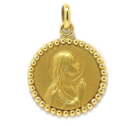Medalla Vírgen 21mm borde bolitas oro