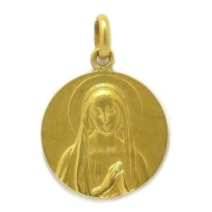 Medalla Virgen 20mm oro amarillo