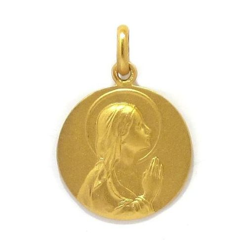 Medalla Virgen Ave María 18mm oro