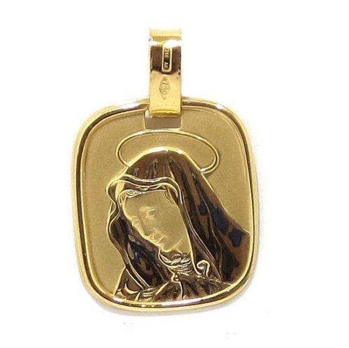 Medalla Virgen cuad 18x20mm oro