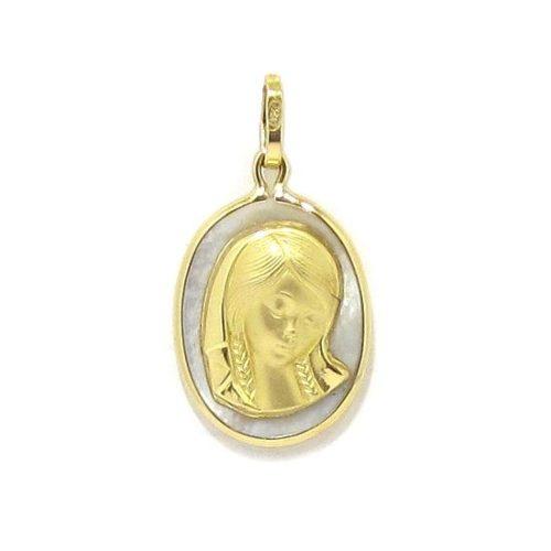 Medalla Virgen niña 13x17mm nácar oro