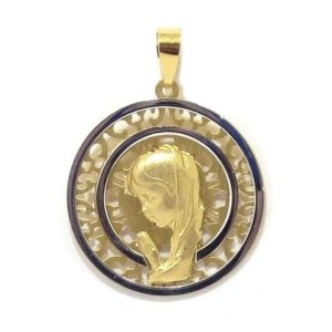 Medalla Virgen niña 20mm oro calada