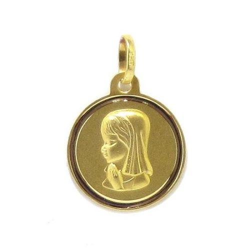 Medalla Virgen niña Ave María 16mm oro