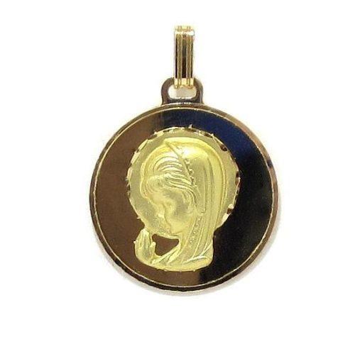 Medalla Virgen niña Ave María 18mm oro