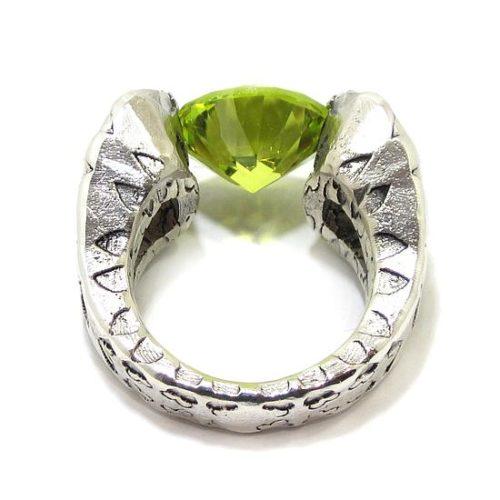 Anillo plata circonio cubico verde