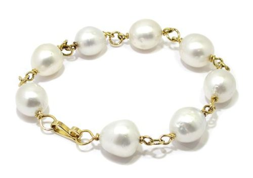 Pulsera oro amarillo 8 perlas australianas