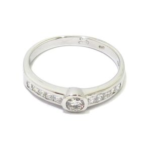 Anillo 11 diamantes oro blanco