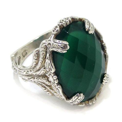Anillo Jade oval damero Plata