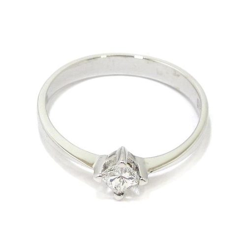 Anillo solitario oro blanco 18K con diamante princesa 0.21ct