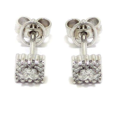 Pendientes cuadrados 26 diamantes oro blanco