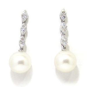 Pendientes oro blanco diamantes perlas