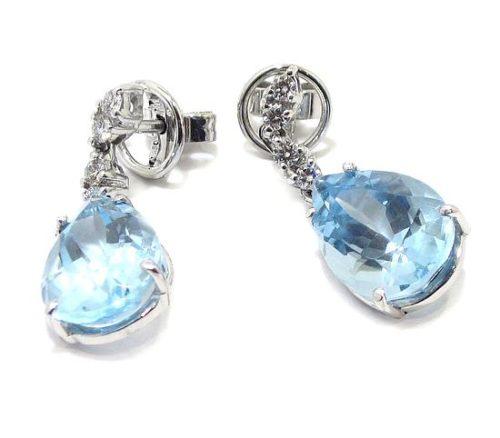 Pendientes oro blanco diamantes topacio azul
