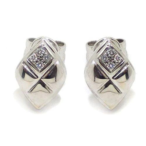 Pendientes rombo damero 8 diamantes oro blanco