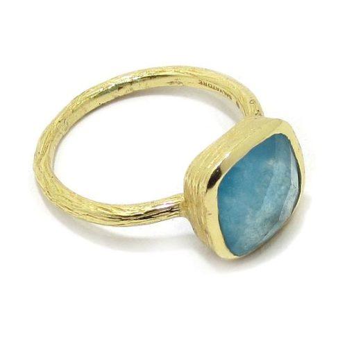 Anillo plata dorada cuarzo azul cuadrado
