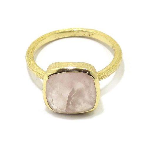 Anillo plata dorada cuarzo rosa cuadrado