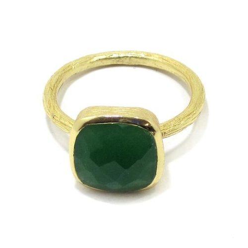 Anillo plata dorada cuarzo verde cuadrado