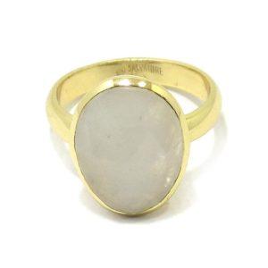 Anillo plata dorada ovalo piedra luna