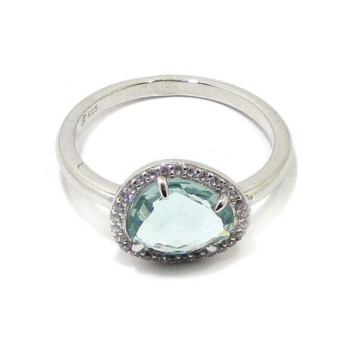 Anillo plata ovalo cristal azul circonitas