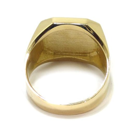 Anillo sello cuadrado relieve Iniciales oro amarillo