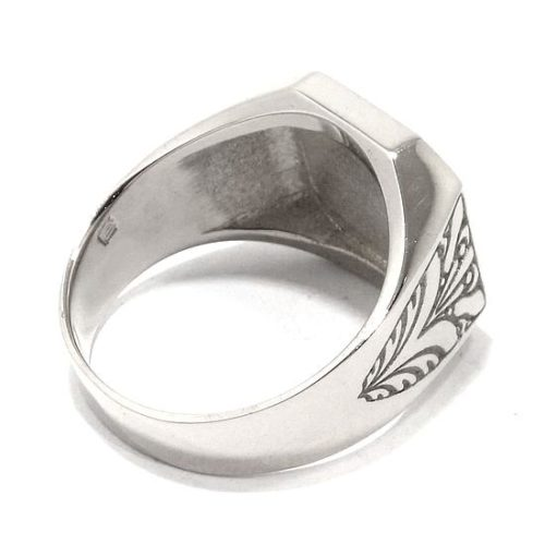 Anillo sello cuadrado relieve Iniciales plata