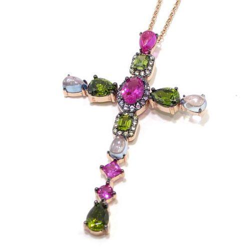 Collar plata cruz espinela rubi peridoto