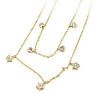 Collar plata dorada estrellas circonitas