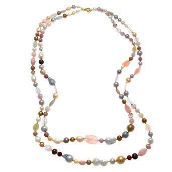 Collar plata dorada perlas barrocas piedras