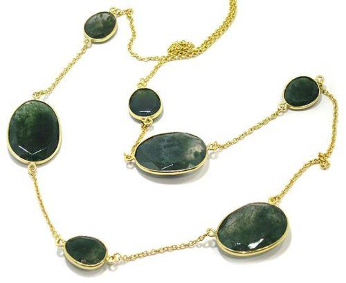 Collar plata dorada ovalos agata musgo