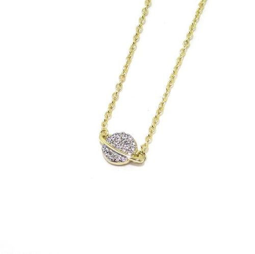 Collar plata dorada saturno circonitas bajo rodio