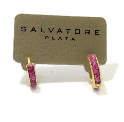 Pendientes plata dorada aro jade rosa