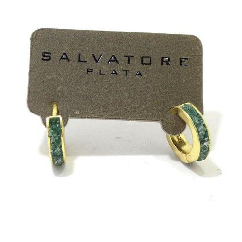 Pendientes plata dorada turmalina verde