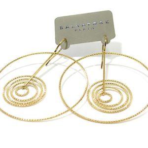 Pendientes plata dorada aros diamantados