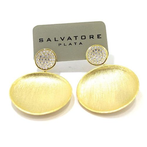 Pendientes plata dorada circulo circonitas