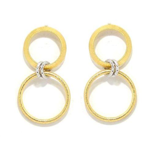 Pendientes plata dorada dos circulo colgantes