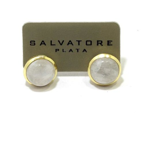 Pendientes plata dorada piedra luna