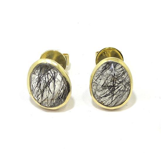 Pendientes plata dorada ovalo satinado