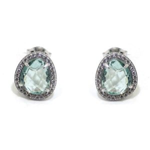 Pendientes plata ovalo cristal azul circonitas