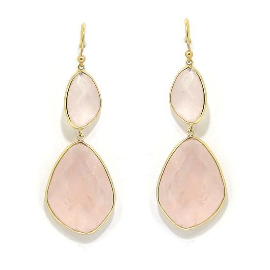 Pendientes plata rosa cuarzo rosa pera