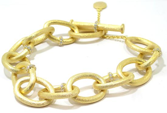 Pulsera plata dorada satinada circonitas