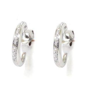 Pendientes criollas oro blanco diamantes