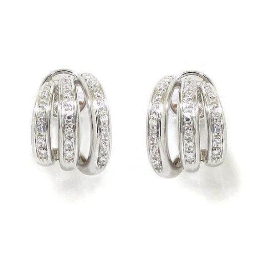 Pendientes criollas triple oro blanco diamantes
