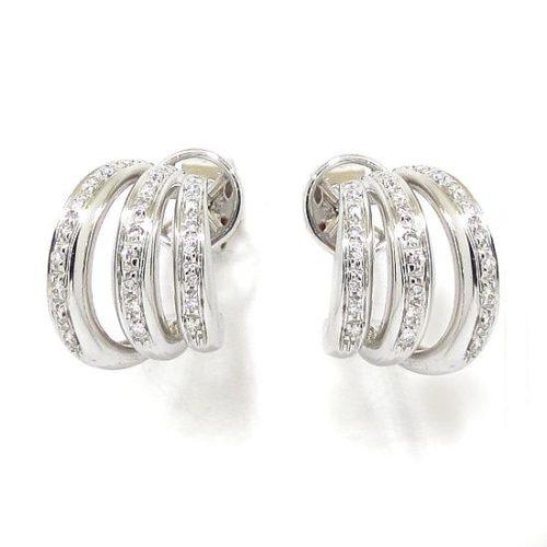Pendientes criollas triple oro blanco diamantes
