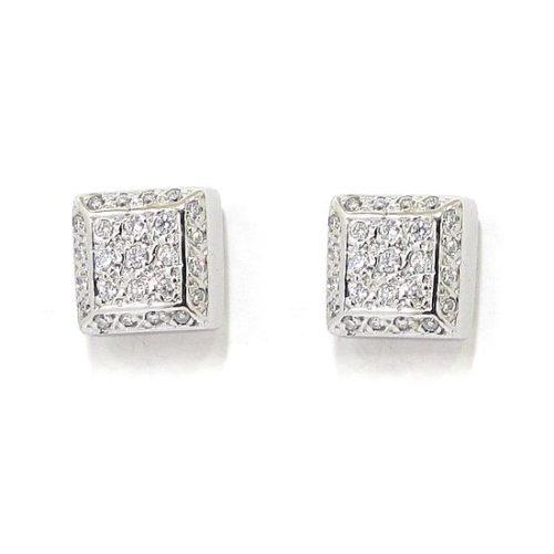 Pendientes oro blanco cuadrados diamantes