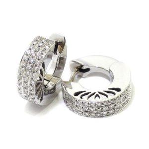 Pendientes criollas calados oro blanco diamantes