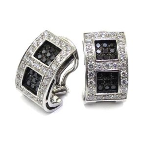 Pendientes oro blanco pavés diamantes negros