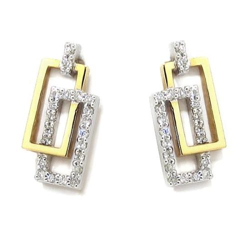 Pendientes oro blanco/rosa rectangulos diamantes