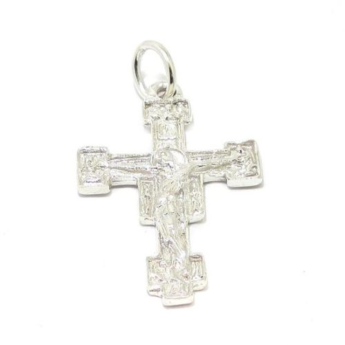 Colgante cruz románica plata fina