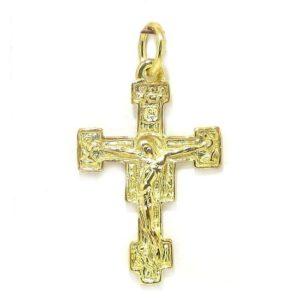 Colgante cruz románica plata amarilla fina
