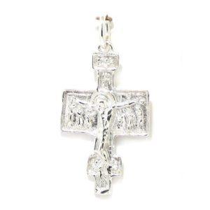 Colgante cruz románica plata media