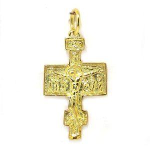 Colgante cruz románica plata amarilla media